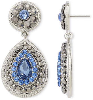 JCPenney MONET JEWELRY Monet Blue Glass & Marcasite Teardrop Earrings