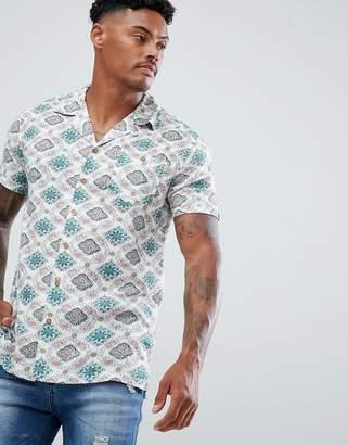 Soul Star Vintage Print Revere Collar Shirt