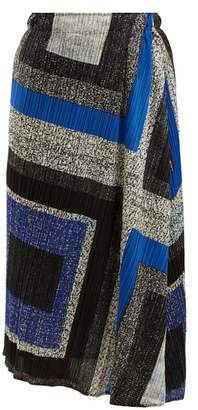 Pleats Please Issey Miyake Union Block Print Pleated Skirt - Womens - Blue Print