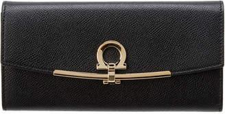 Salvatore Ferragamo Gancini Clip Leather Continental Wallet