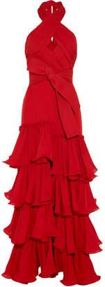 Johanna Ortiz - Halterneck Ruffled Silk-georgette Gown - Claret