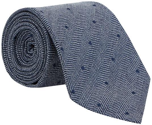 Drakes Blue Herringbone Dot Silk Tie