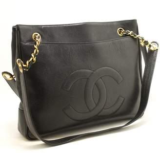 95ef6380dd9f6e Chanel Black Caviar Large CC Chain Shoulder (SHB-10028)