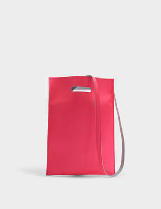 MM6 MAISON MARGIELA Hand Carry Plastic Bag in Neon Pink Synthetic Leather