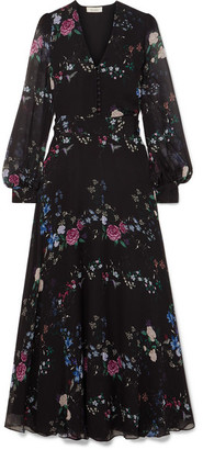 Equipment Tabitha Simmons Clemense Ruffled Floral-print Silk-chiffon Maxi Dress - Black
