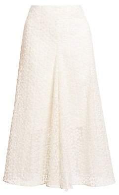 Akris Women's Floral Appliqué Midi Skirt