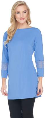 Joan Rivers Classics Collection Joan Rivers Jersey Knit Tunic with Lace Detail