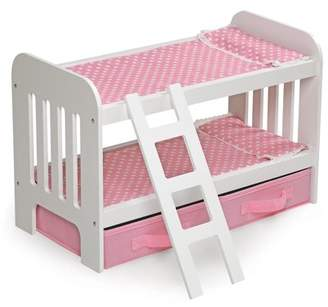 """Badger Basket Doll Bunk Bed with Ladder and Two Storage Baskets - Pink/Polka Dot - Fits American Girl, My Life As & Most 18"""" Dolls"""