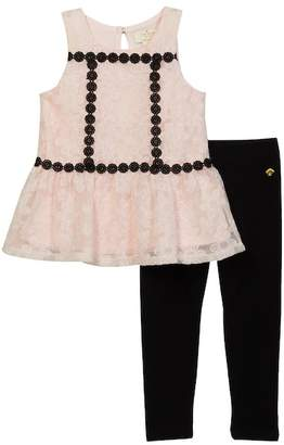 Kate Spade Floral Mesh Tunic & Leggings Set (Toddler & Little Girls)