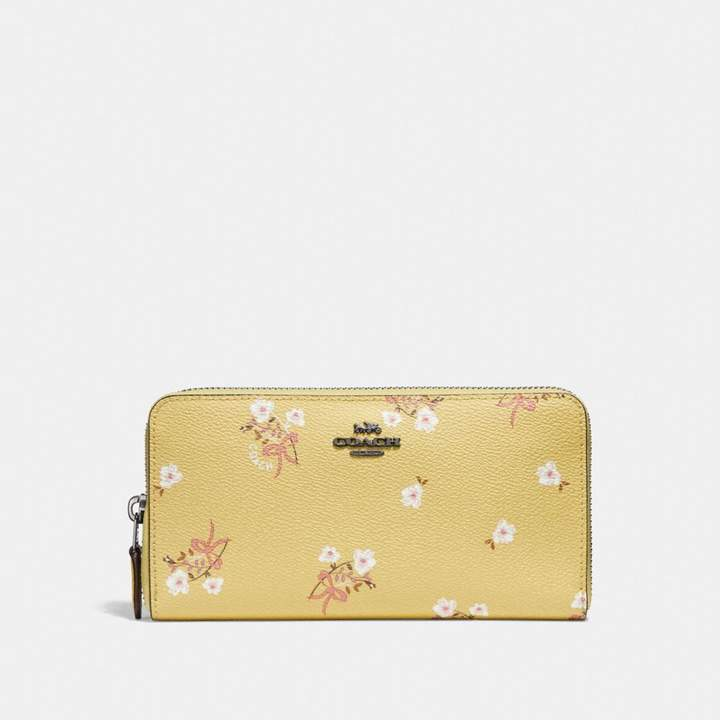 Coach Accordion Zip Wallet With Floral Bow Print - SUNFLOWER FLORAL BOW/DARK GUNMETAL - STYLE
