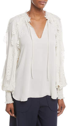 See by Chloe Mock-Neck Floral Cutout Blouse