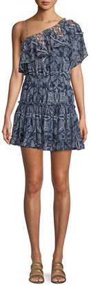MISA Los Angeles Ezri Off-the-Shoulder Printed Mini Dress