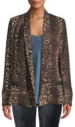 Paige Karissa Double-Breasted Shawl-Collar Leopard-Print Blazer