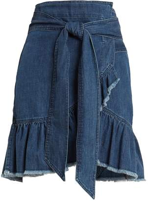 Etoile Isabel Marant Lindy asymmetric cotton-denim wrap skirt