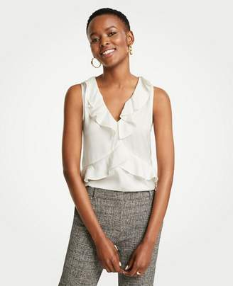 Ann Taylor Tiered V-Neck Ruffle Shell