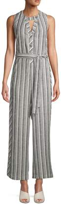 Laundry by Shelli Segal Striped Linen-Blend Jumpsuit
