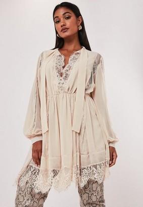 Missguided Ivory Chiffon Lace Trim Mini Dress