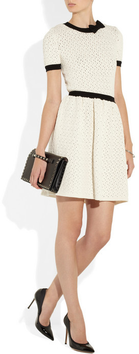 RED Valentino Open-knit cotton-blend dress