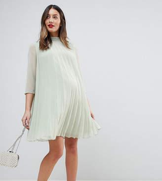 Asos Pleated Trapeze Mini Dress