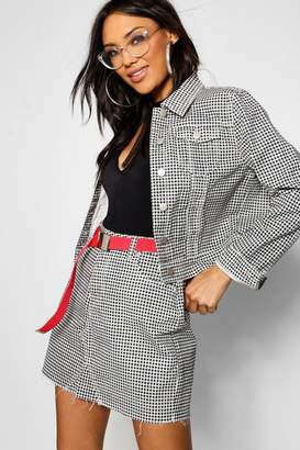 boohoo Gingham Check Crop Denim Jacket