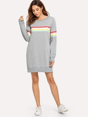 Shein Striped Tape Panel Sweatshirt Dress