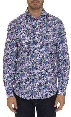 Robert Graham Men's Palm Jungle Printed Stretch-Cotton Sport Shirt