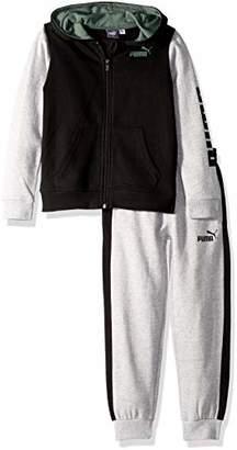 Puma Little Boys' Fleece Hoodie Set, Black, 4