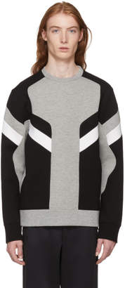 Neil Barrett Grey & Black Zippered Modernist Sweatshirt