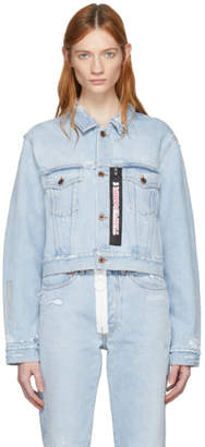 Off-White Blue Bleach Temperature Cropped Denim Jacket