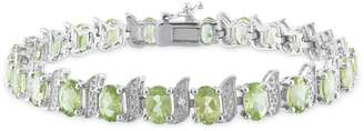 Concerto 0.03 CT. T.W. Diamond and Peridot Sterling Silver Bracelet