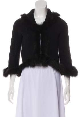 Blumarine Fox-Trimmed Wool Cardigan