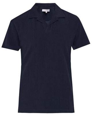 Orlebar Brown Terry Towelling Cotton Blend Polo Shirt - Mens - Navy