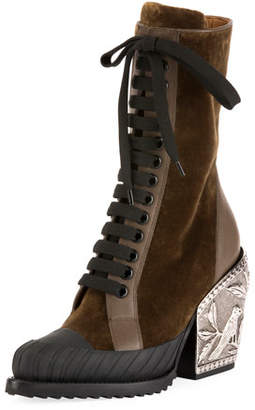 Chloé Rylee Metal-Heel Lace-Up Combat Boot