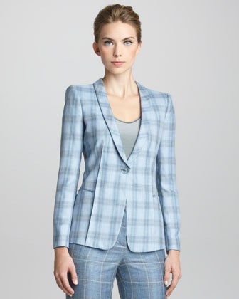 Giorgio Armani Plaid Shawl Collar Jacket
