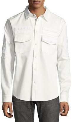 Valentino Embroidered Military Shirt, White $3,195 thestylecure.com