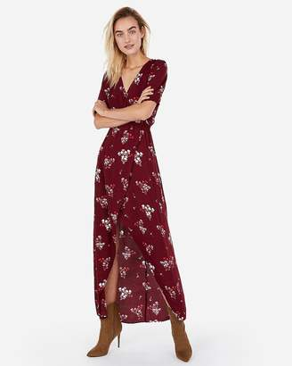 Express Floral Ruffle Sleeve Wrap Hi-Lo Maxi Dress