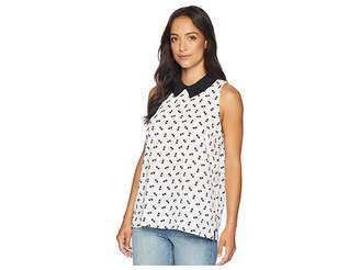 CeCe Sleeveless Collared Star Palm Ditsy Blouse