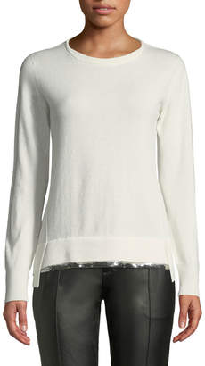 Agnona Crewneck Long-Sleeve Cashmere Sweater w/ Sequin Hem, White