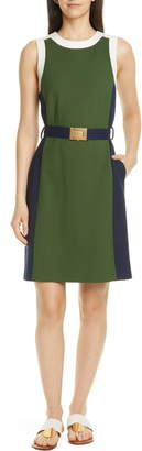 Tory Burch Belted Colorblock Ponte Dress