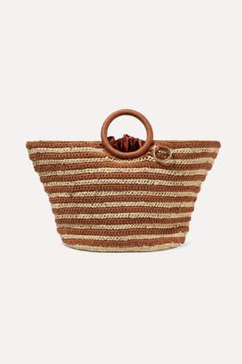 Mizele - Sun Striped Crocheted Raffia And Cotton Tote - Neutral