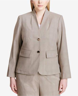 Calvin Klein Plus Size Two-Button Plaid Blazer