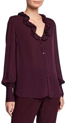 Elie Tahari Azra Silk Button-Down Long-Sleeve Blouse