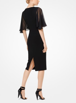 Michael Kors Chiffon and Stretch Wool-Crepe Dress