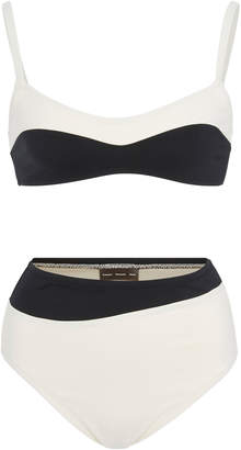 Proenza Schouler Two-Tone Stretch-Crepe Bikini Set