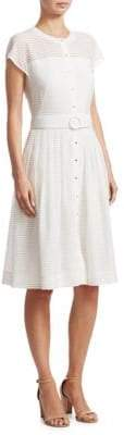 Akris Punto Buttoned Shadow Stripe Dress