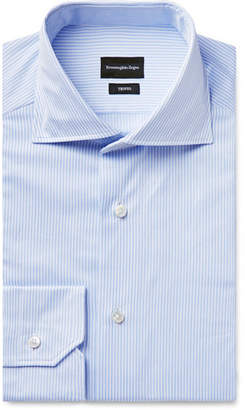 Ermenegildo Zegna Light-Blue Trofeo Slim-Fit Cutaway-Collar Pinstriped Cotton-Poplin Shirt