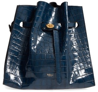 Mulberry Tyndale Croc Embossed Calfskin Leather Bucket Bag - Blue $1,595 thestylecure.com