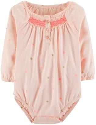 Osh Kosh Oshkosh Bgosh Baby Girl Smocked Embroidered Bodysuit