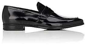 Prada Men's Spazzolato Leather Penny Loafers-Black