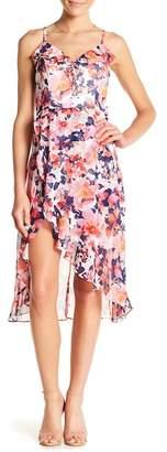 Kensie Floral Ruffle Trim Midi Dress